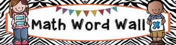 Math & ELA Word Wall Banners - Zebra Print