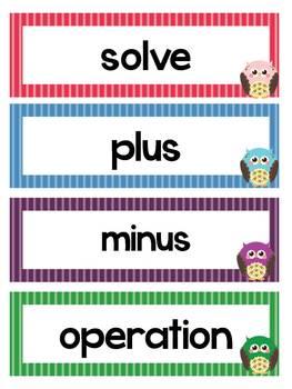 Math Word Wall - Second Grade
