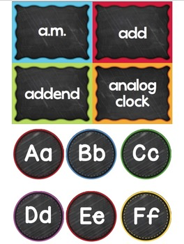Math Vocabulary Word Wall - Grades 1 and 2