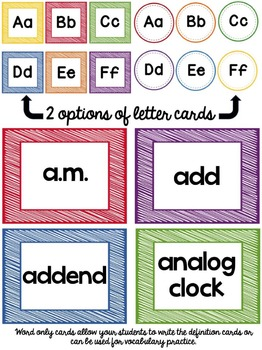 Math Vocabulary Word Wall - Grades 1 and 2 (Printer Friendly Edition)