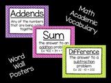 Math Vocabulary- Word Wall Polka Dot