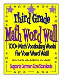 Math Vocabulary Word Wall - Third Grade - Supports CCS