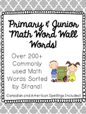 Math Vocabulary Word Wall Words - Primary and Junior