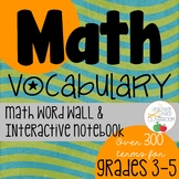 Math Vocabulary Word Wall and Interactive Notebook
