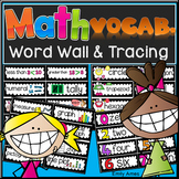 Math Vocabulary Word Wall and Tracing