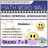 Math Vocabulary - Word Wall and Word Search