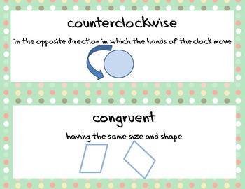 Math Vocabulary Word Wall with Definitions and Examples Common Core - Polka Dots