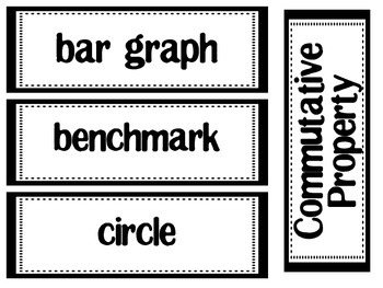Math Vocabulary Word Wall words & definition cards
