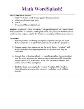 Math Vocabulary WordSplash!