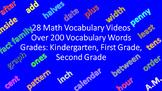 200+ Math Instructional Vocabulary Words - Grades K - 2 (28 Videos)