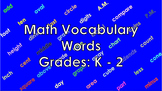 Math Vocabulary Words Grades K - 2 PowerPoint with Animations