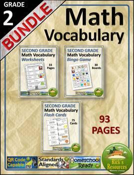Math Vocabulary Words and Activities Bundle Grade 2 - Test Prep