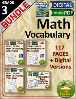 Math Vocabulary Words and Activities Bundle Grade 3 - Test Prep