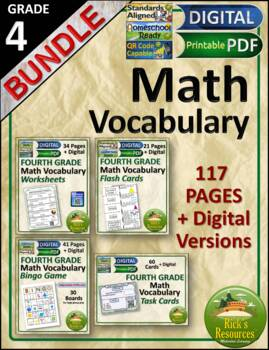 Math Vocabulary Words and Activities Bundle Grade 4 - Test Prep