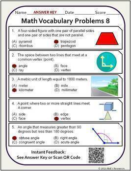 Math Vocabulary Words and Activities Bundle Grade 5 - Test Prep