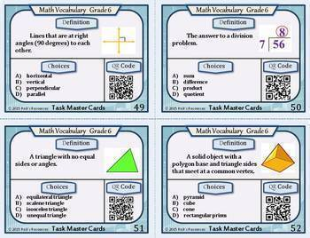 Math Vocabulary Words and Activities Bundle Grade 6 - Test Prep