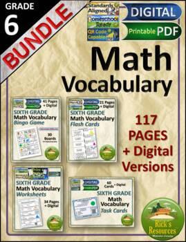 Math Vocabulary Words and Activities Bundle Grade 6