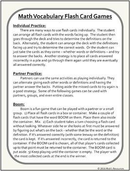 Math Vocabulary Activity Flash Cards 3rd Grade
