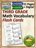 Math Vocabulary Activity Flash Cards 3rd Grade