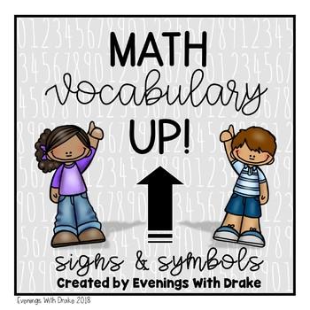 Math Vocabulary Journal Writing Prompts (Signs & Symbols)