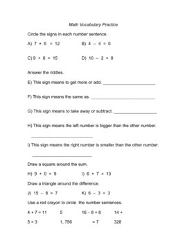 Math Vocabulary and Fact Family Practice