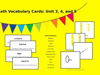 Math Vocabulary and Picture Cards: Unit 3, 4, and 5