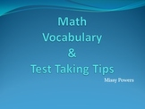 Math Vocabulary and Test Taking Tips