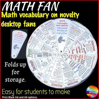 Personal Math Reference FAN! A mini anchor chart for Math vocabulary.