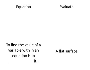 Math Vocabulary entire year 6th Grade
