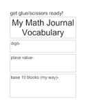 Math Vocabulary for Journals