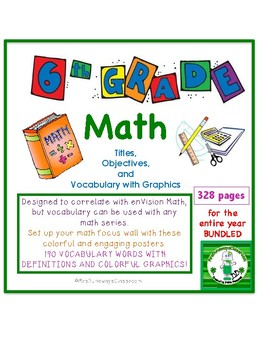 Math Vocabulary for Sixth Grade (entire year bundled)
