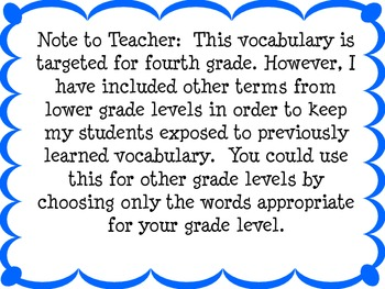 Math Vocabulary for the Common Core for Math Word Wall