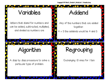 Math Vocabulary, fourth grade, ENY, Module 1