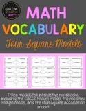 Math Vocabulary Four Square Graphic Organizers