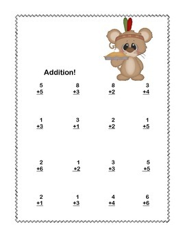 Math WS's- Addition to 20 Practice -Thanksgiving -CCSS.MATH.CONTENT.1.OA.C.6