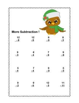 Math WS's-Christmas Subtraction -CCSS.MATH.CONTENT.1.OA.C.6