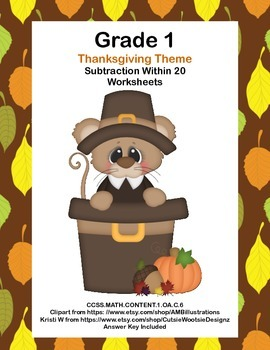 Math WS's-Thanksgiving Subtraction --CCSS.MATH.CONTENT.1.OA.C.6