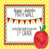Calendar Math Wall for August and September (1st Grade)
