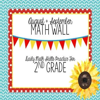Calendar Math Wall for August and September (2nd Grade)