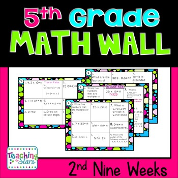 Math Wall 2nd Nine Weeks~ Mastering Common Core 5th Grade