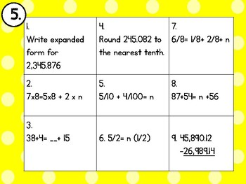5th Grade Math Wall ~ 3rd Nine Weeks