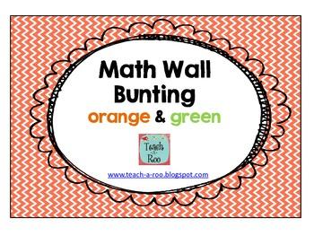 """Math Wall"" Bunting in Orange and Green"