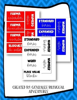 Math Wall Labels BILINGUAL