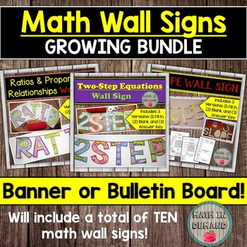 Math Wall Signs (Great for Math Banners or Math Bulletin Boards)