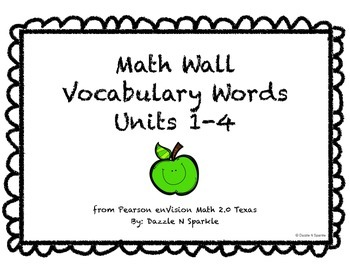 Math Wall Vocabulary enVision 2.0 Texas Grade 2 Topics 1-4
