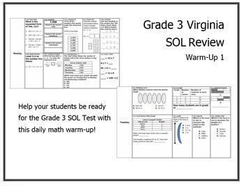 Virginia SOL Math Warm Up #1