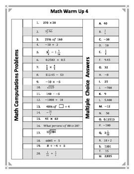 Math Warm Up 4