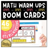 Math Warm Up April Boom Cards™ Digital Task Cards - Differ