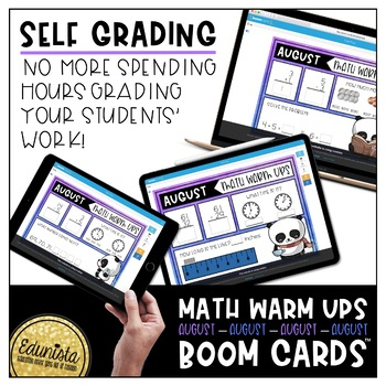 Math Warm Up August Boom Cards™ Digital Task Cards - Differentiated for 2 levels