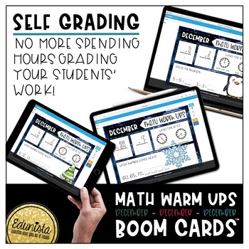 Math Warm Up December Boom Cards™ Digital Task Cards - Differentiated 2 Levels
